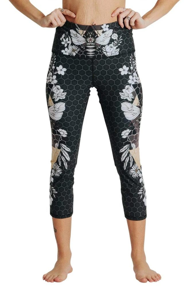 Beeloved Blackout Printed Yoga Crops