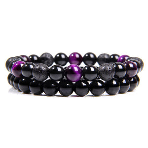 Purple Tigers Eye & Lava Rock with Onyx Bracelet set