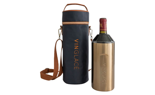 Copper Original Wine Chiller with Navy Nylon Tote