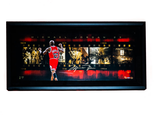 Michael Jordan Signed Rising Banner Trophy Room Exclusive Plaque
