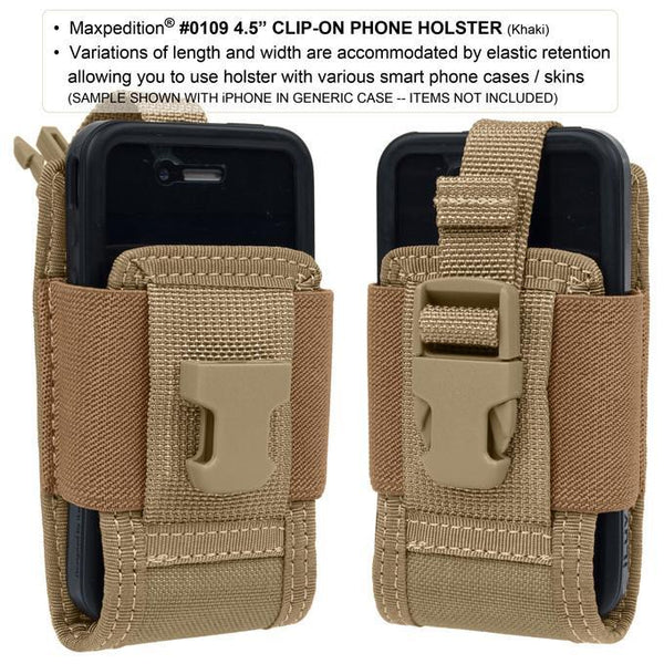 "4.5"" CLIP-ON PHONE HOLSTER - MAXPEDITION,Military, CCW, EDC, Tactical, Everyday Carry, Outdoors, Nature, Hiking, Camping, Bushcraft, Gear"