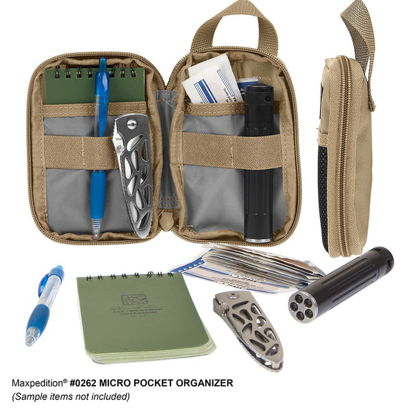 Micro Pocket Organizer - Pouch, Essential, First Aid Kit, Maxpedition, Military, CCW, EDC, Tactical, Everyday Carry, Outdoors, Nature, Hiking, Camping, Police Officer, EMT, Firefighter, Bushcraft, Gear.