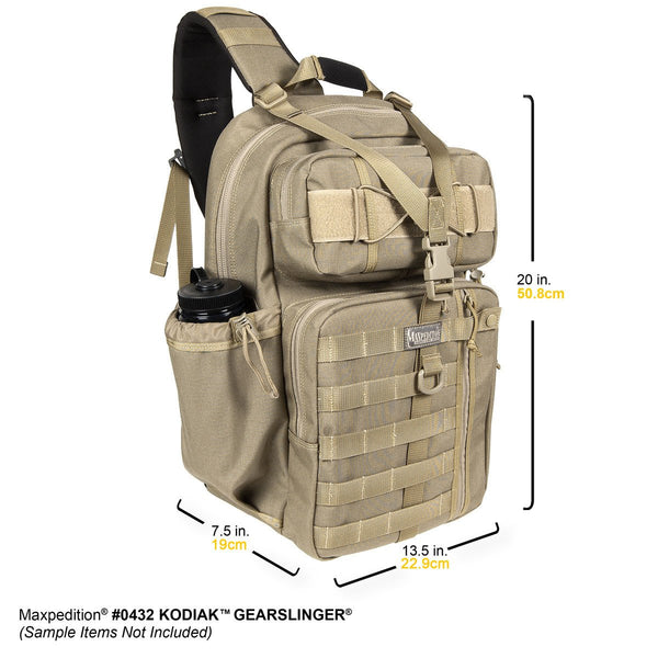 KODIAK GEARSLINGER - MAXPEDITION, Backpack, Laptop Carrier, CCW, EDC, Urban, Outdoors, Military, CCW, EDC, Everyday Carry, Outdoors, Nature, Hiking, Camping, Police Officer, EMT, Firefighter, Bushcraft, Gear, Travel