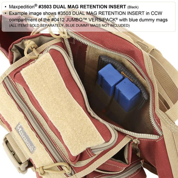 DUAL MAG RETENTION INSERT - MAXPEDITION, Tactical, CCW gear, Magazine, Guns, Range, Maxpedition, Military, CCW, EDC, Tactical, Everyday Carry, Outdoors, Nature, Hiking, Camping, Police Officer, EMT, Firefighter, Bushcraft, Gear.