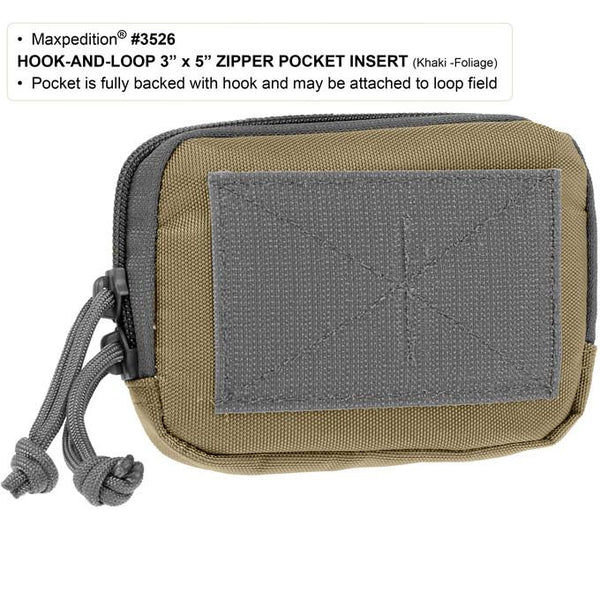 "Maxpedition- Hook & Loop 3"" x 5"" Zipper Pocket,  Tactical, CCW, Gun Accessory, Gun Carrier, Magazine, Shooting Range, Concealed Carry Weapon Maxpedition, Military, CCW, EDC, Everyday Carry, Outdoors, Nature, Hiking, Camping, Police Officer, EMT, Firefighter, Bushcraft, Gear."