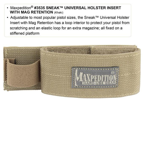 Sneak Universal Holster Insert With Mag Retention- Maxpedition, Tactical Gear, Adventure, Urban, Military, CCW, EDC, Everyday Carry, Outdoors, Nature, Hiking, Camping, Police Officer, EMT, Firefighter, Bushcraft, Gear, Travel.