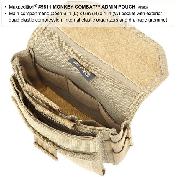 Monkey Combat Admin Pouch-Maxpedition, Attachable, Molle, PALS, ATLAS compatible,Military, CCW, EDC, Everyday Carry, Outdoors, Nature, Hiking, Camping, Police Officer, EMT, Firefighter, Bushcraft, Gear, Travel