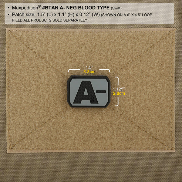 A- BLOOD TYPE PATCH - MAXPEDITION, Patches, Military, CCW, EDC, Tactical, Everyday Carry, Outdoors, Nature, Hiking, Camping, Bushcraft, Gear, Police Gear, Law Enforcement