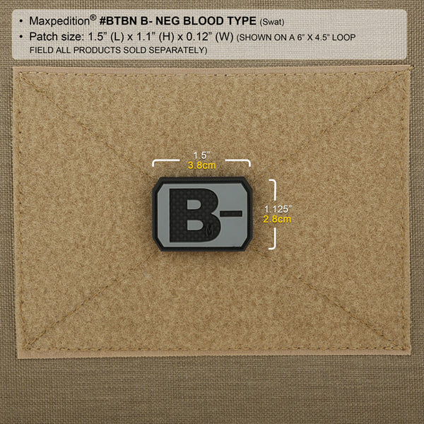 B- BLOOD TYPE PATCH - MAXPEDITION, Patches, Military, CCW, EDC, Tactical, Everyday Carry, Outdoors, Nature, Hiking, Camping, Bushcraft, Gear, Police Gear, Law Enforcement