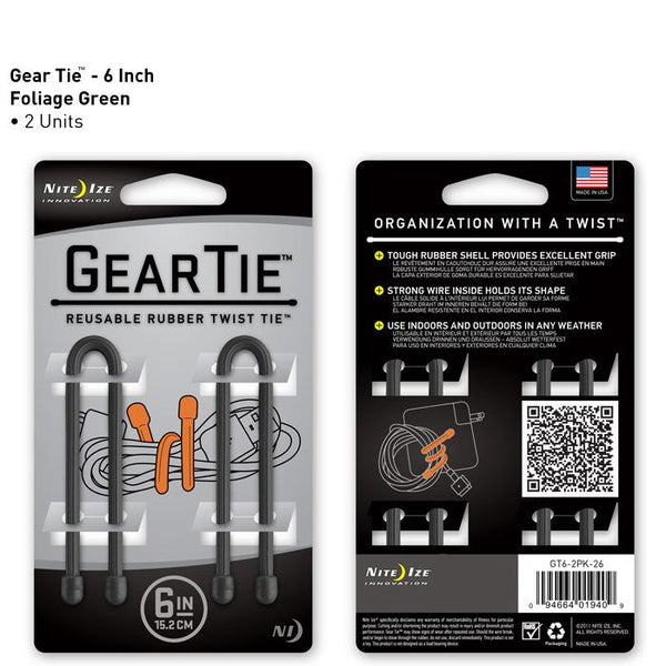 "Nite Ize Gear Tie 6"" (Pack of 2)"