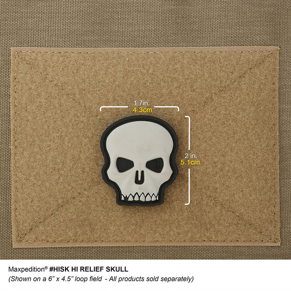 HI RELIEF SKULL PATCH - MAXPEDITION, Patches, Military, CCW, EDC, Tactical, Everyday Carry, Outdoors, Nature, Hiking, Camping, Bushcraft, Gear, Police Gear, Law Enforcement
