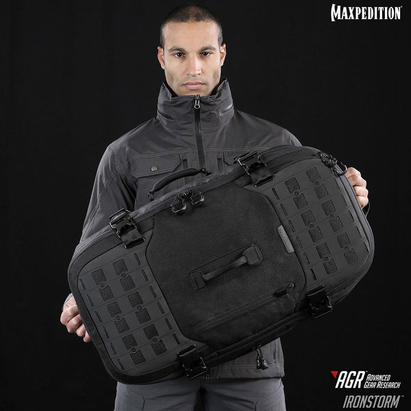 Maxpedition's Adventure Travel Bag, The Ironstorm comes equipped with multiple handles for carrying and luggage maneuvering.