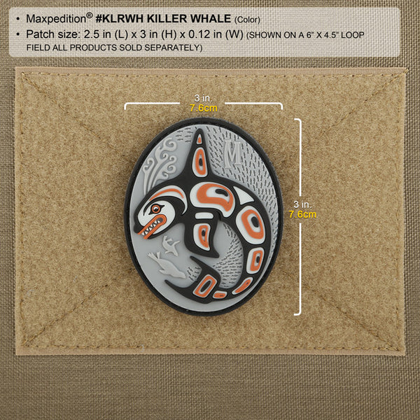 KILLER WHALE PATCH - MAXPEDITION, Patches, Military, CCW, EDC, Tactical, Everyday Carry, Outdoors, Nature, Hiking, Camping, Bushcraft, Gear, Police Gear, Law Enforcement