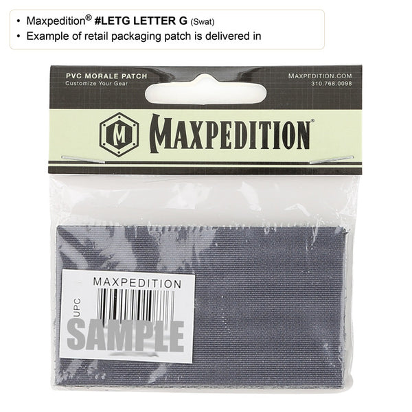 LETTER G PATCH - MAXPEDITION, Patches, Military, CCW, EDC, Tactical, Everyday Carry, Outdoors, Nature, Hiking, Camping, Bushcraft, Gear, Police Gear, Law Enforcement