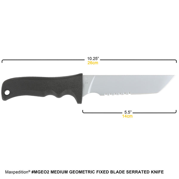Medium Geometric Fixed Blade Serrated Knife - MAXPEDITION,  EDC, Pouch, Everyday Carry, Tactical, Hiking, Camping, Outdoor, Essentials, Hardware, Law Enforcement, Police Gear, Range Gear, EMT, FireFighter, Gun, Weapons, CCW. Concealed Carry