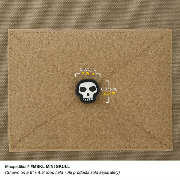 MINI SKULL PATCH - MAXPEDITION, Patches, Military, CCW, EDC, Tactical, Everyday Carry, Outdoors, Nature, Hiking, Camping, Bushcraft, Gear, Police Gear, Law Enforcement