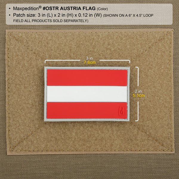AUSTRIA FLAG PATCH - MAXPEDITION, Patches, Military, CCW, EDC, Tactical, Everyday Carry, Outdoors, Nature, Hiking, Camping, Bushcraft, Gear, Police Gear, Law Enforcement