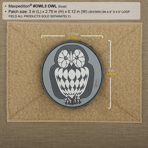 OWL PATCH - MAXPEDITION, Patches, Military, CCW, EDC, Tactical, Everyday Carry, Outdoors, Nature, Hiking, Camping, Bushcraft, Gear, Police Gear, Law Enforcement