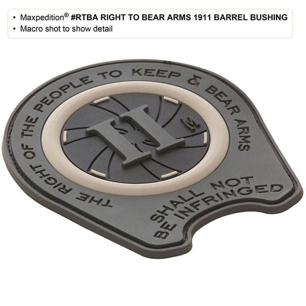 RIGHT TO BEAR ARMS 1911 BARREL BRUSHING PATCH - MAXPEDITION, Patches, Military, CCW, EDC, Tactical, Everyday Carry, Outdoors, Nature, Hiking, Camping, Bushcraft, Gear, Police Gear, Law Enforcement