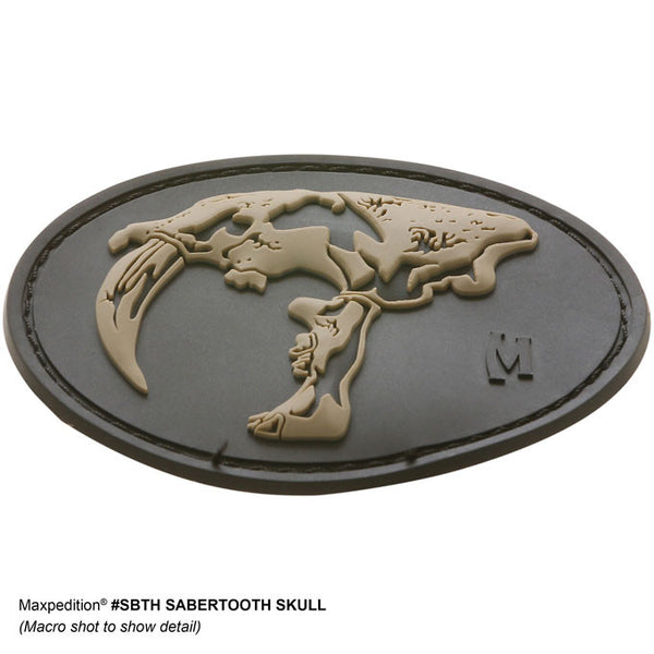 SABERTOOTH SKULL PATCH - MAXPEDITION, Patches, Military, CCW, EDC, Tactical, Everyday Carry, Outdoors, Nature, Hiking, Camping, Bushcraft, Gear, Police Gear, Law Enforcement