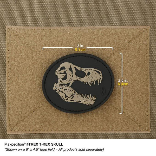 T REX SKULL PATCH - MAXPEDITION, Patches, Military, CCW, EDC, Tactical, Everyday Carry, Outdoors, Nature, Hiking, Camping, Bushcraft, Gear, Police Gear, Law Enforcement