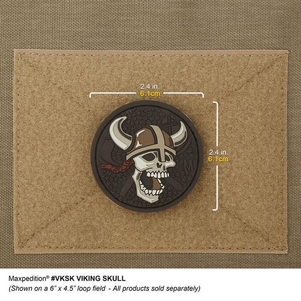 VIKING SKULL PATCH - MAXPEDITION, Patches, Military, CCW, EDC, Tactical, Everyday Carry, Outdoors, Hiking, Camping, Bushcraft, Gear, Police Gear, Law Enforcement