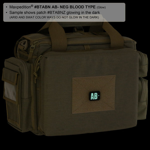 AB- BLOOD TYPE PATCH - MAXPEDITION, Patches, Military, CCW, EDC, Tactical, Everyday Carry, Outdoors, Nature, Hiking, Camping, Bushcraft, Gear, Police Gear, Law Enforcement