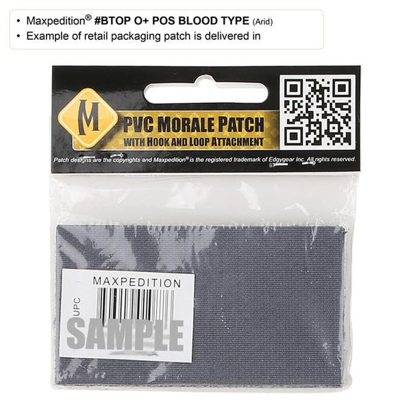 O+ BLOOD TYPE PATCH - MAXPEDITION, Patches, Military, CCW, EDC, Tactical, Everyday Carry, Outdoors, Nature, Hiking, Camping, Bushcraft, Gear, Police Gear, Law Enforcement