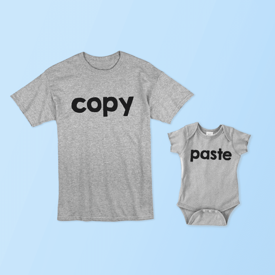 Copy and Paste Father and Daughter Matching Family T-Shirts Set