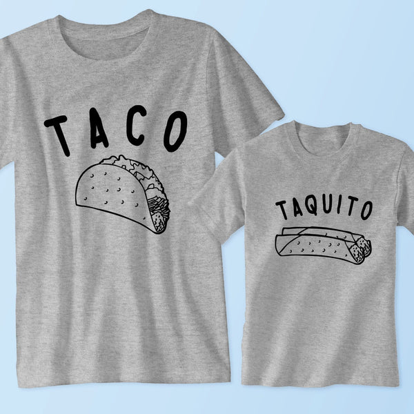 852cfca7 Taco - Taquito (Matching Set) - Father and Son T Shirts, Onesies - Family,  Dad, Mom, Baby Outfits Cole & Coddle