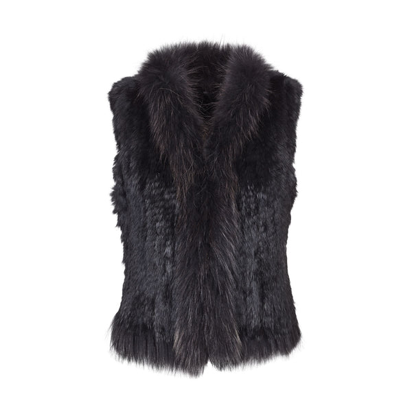 Anna - Black knitted fur gilet