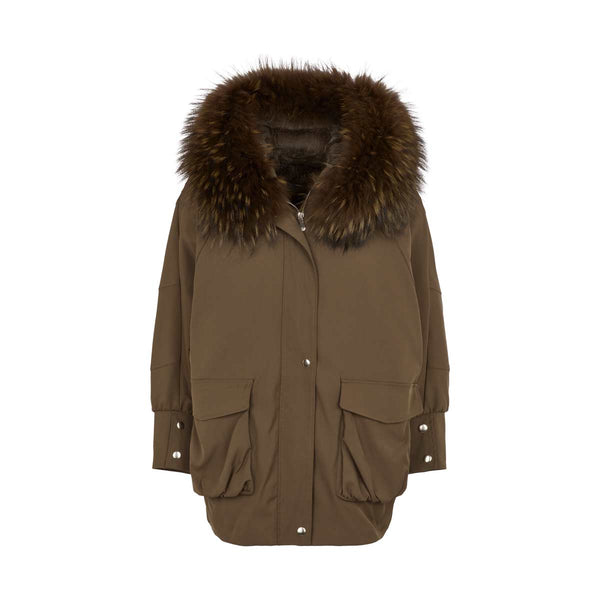 Bomber Style Batwing fur lined Parka - Green