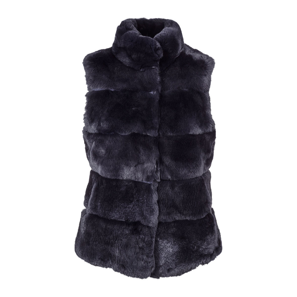 Caroline - Midnight Blue Fur and Suede Gilet
