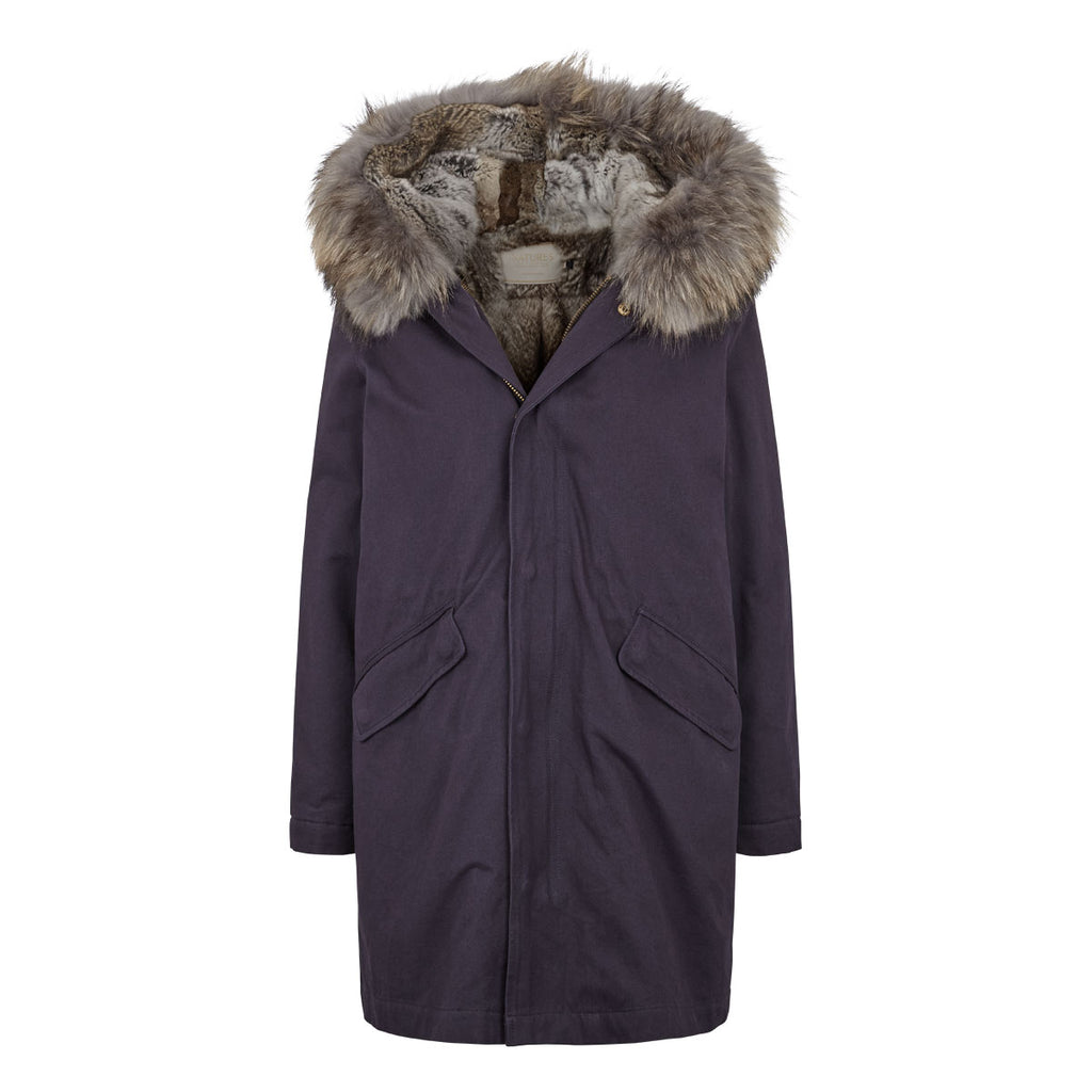 Charlie - Classic fur lined parka jacket in Navy & natural grey