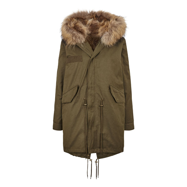 Daisy - Classic fur lined Parka jacket green and brown