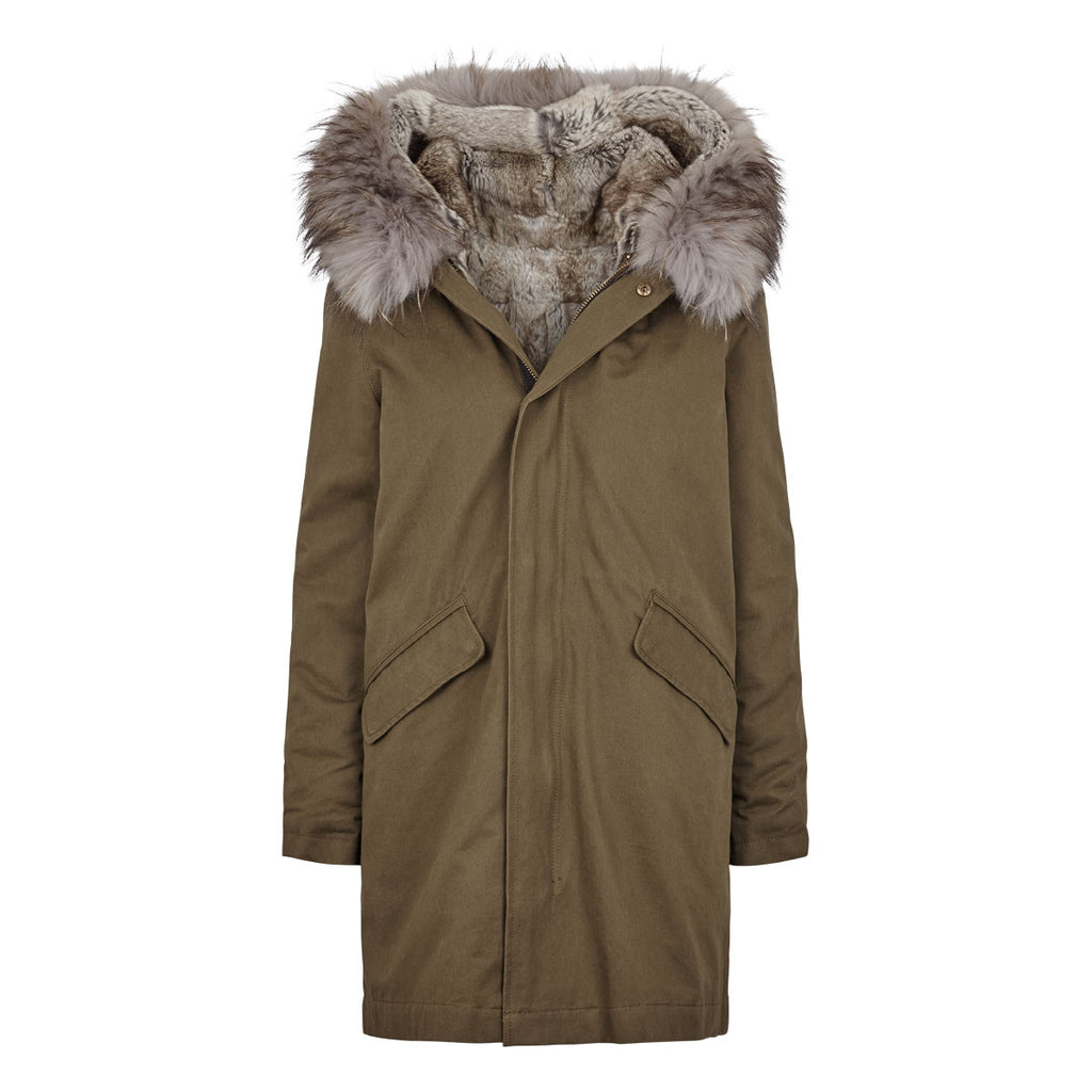 Charlie - Classic fur lined Parka jacket in Khaki and natural grey