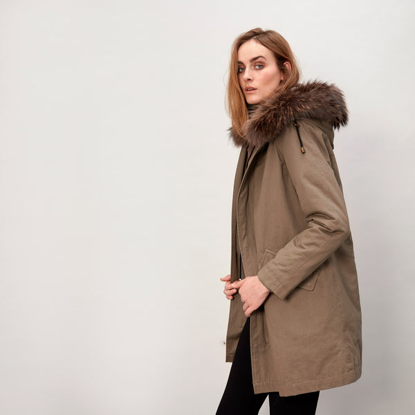 Charlie - Classic fur lined parka jacket Taupe & beige