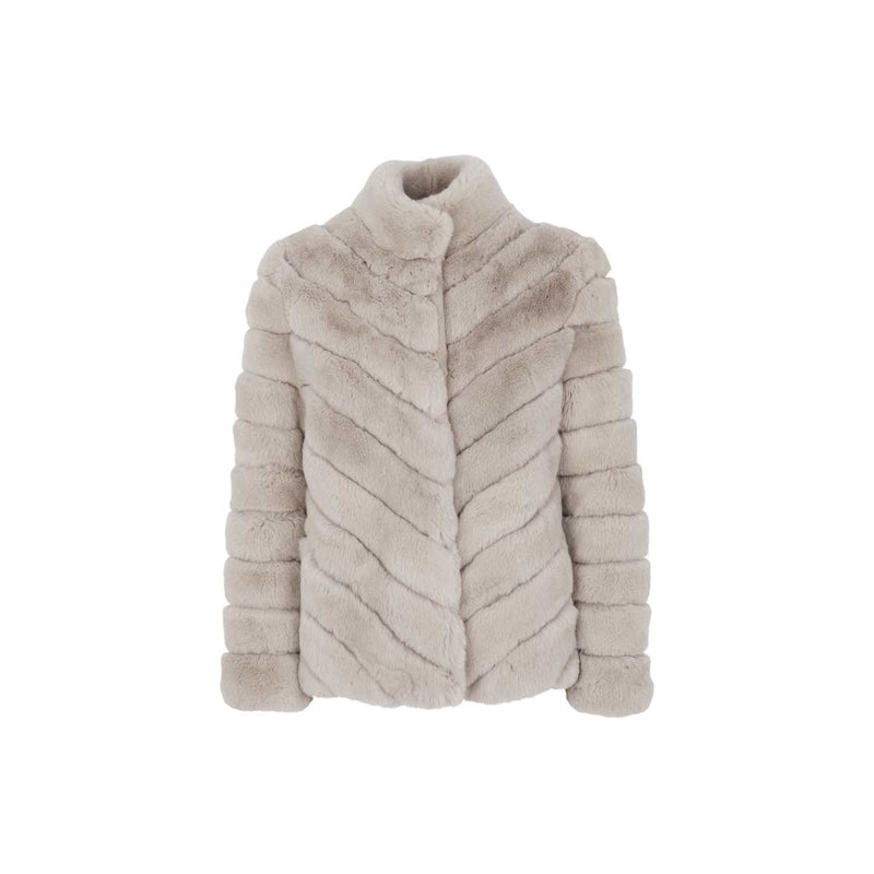 LUNA - Silver grey rex fur jacket