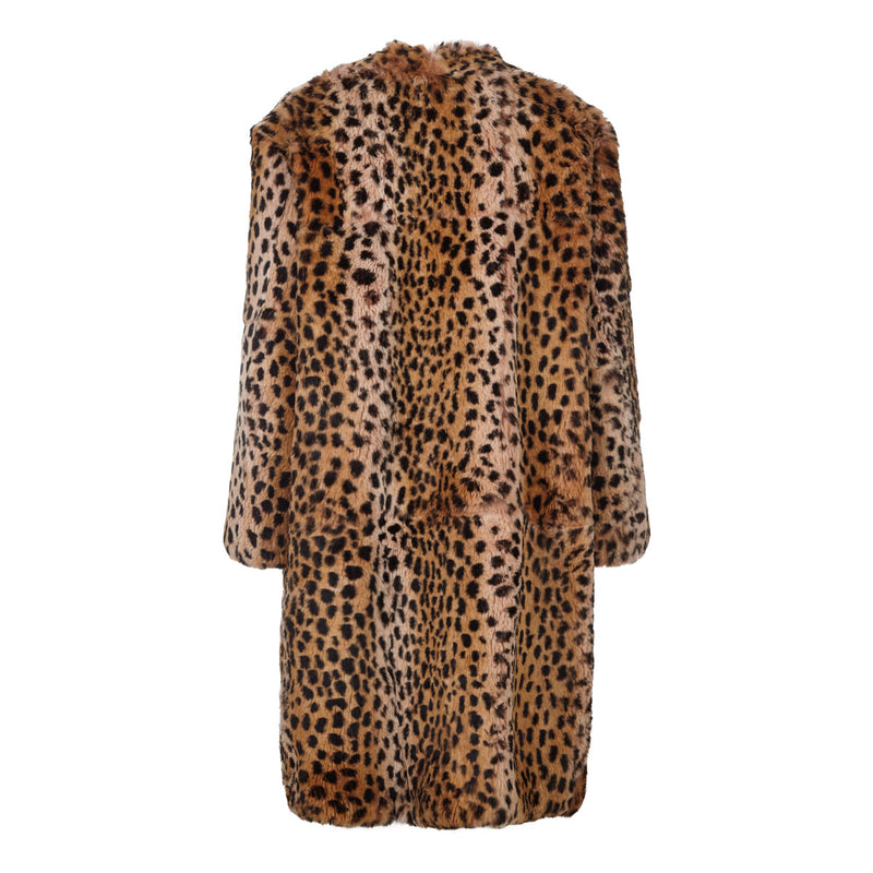 Pam - Luxury Leopard Print Sheered Fur Coat
