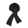 Sylvia - Black, Knitted Wool Scarf with Fur Trim