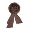 Sylvia - Mushroom, Knitted Wool Scarf with Fur Trim