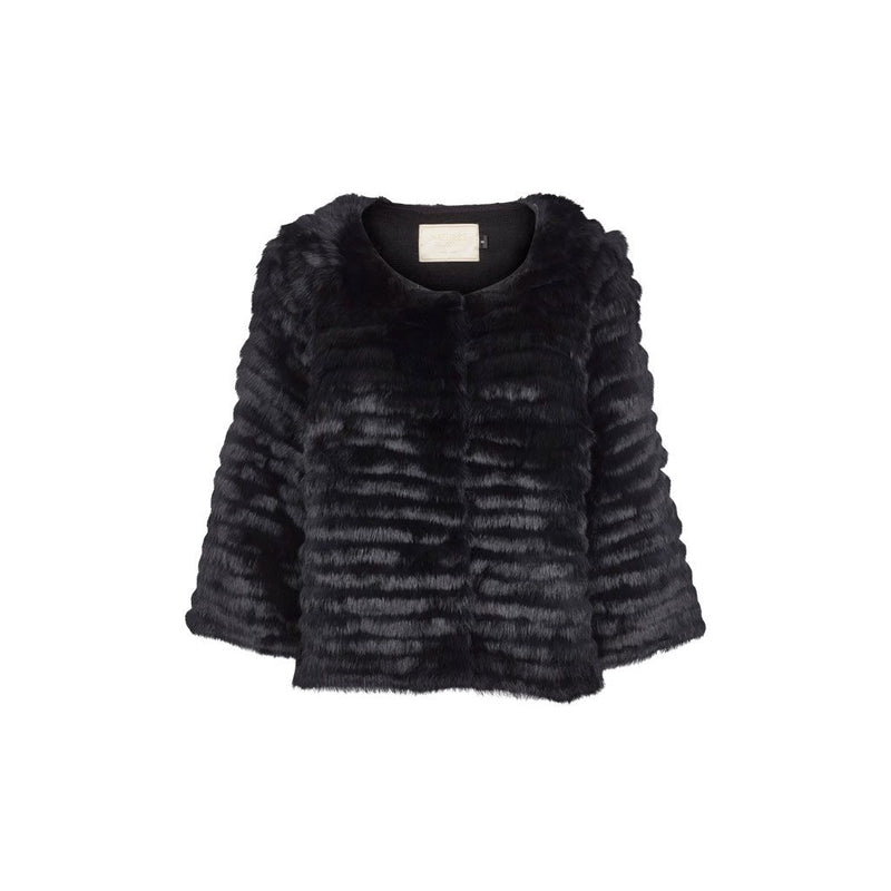 Violet - Black Fur Short Jacket