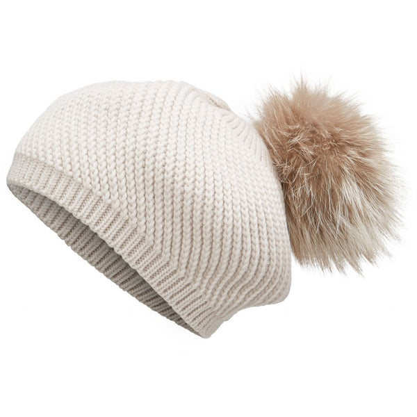 Aspen -  Wool beanie hat with detachable fur pom pom