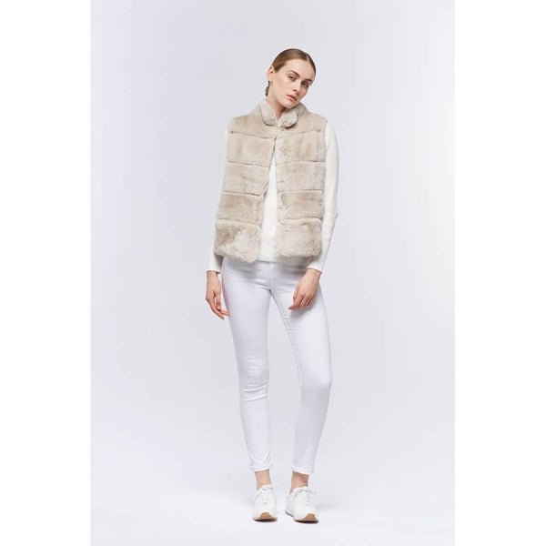 Caroline - Evening Sands Fur & Suede Gilet