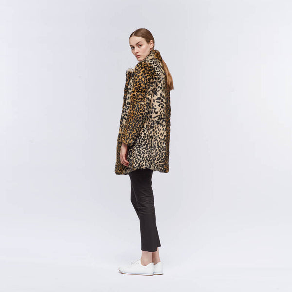 Chrystal - Double breasted sheered fur Leopard print coat.