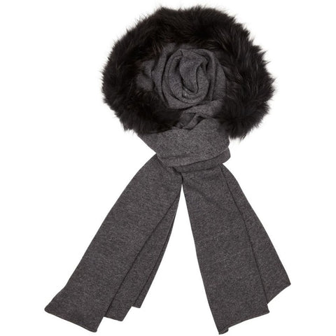 Sylvia - Grey Scarf with fur trim