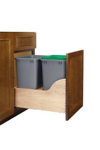 Rev-A-Shelf Double Electric Assist Soft-Close w/ Blum Movento Slides Waste Containers