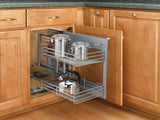 Rev-A-Shelf - Blind Corner Cabinet Pull-Out Chrome 2-Tier Wire Basket Organizer
