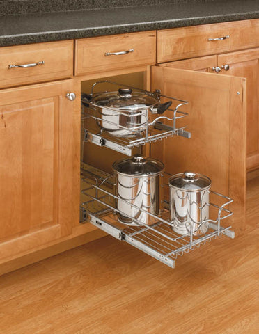 Rev-A-Shelf - Base Cabinet Pull-Out Chrome 2-Tier Wire Basket