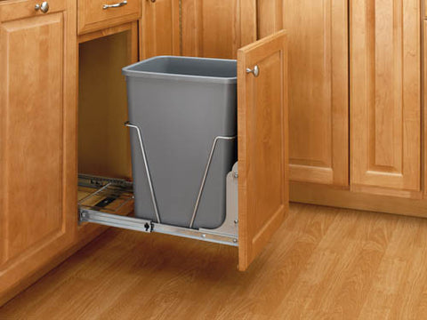 Rev-A-Shelf - Single 35 Qt. Pull-Out Waste Container with Rear Basket